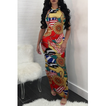 Lovely Fashion Round Neck Printed Red Cotton Blend Ankle Length Dress