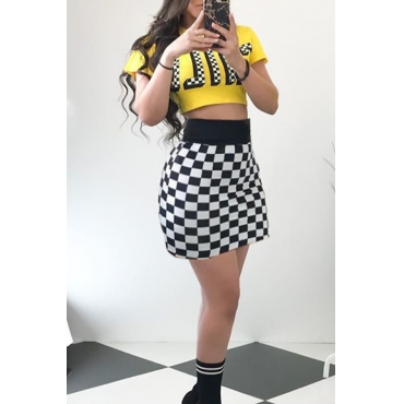 Lovely Casual Round Neck Plaid Printed Yellow Qmilch Two-piece Skirt Set