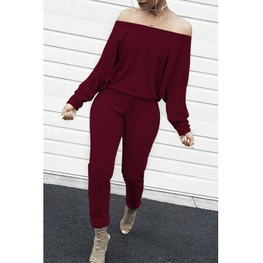 Lovely Fashion Bateau Neck Batwing Sleeves Wine Red Blending One-piece Jumpsuits