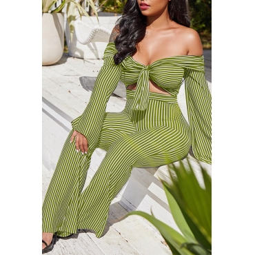 Lovely Sexy Bateau Neck Striped Green Qmilch Two-Piece Pants Set