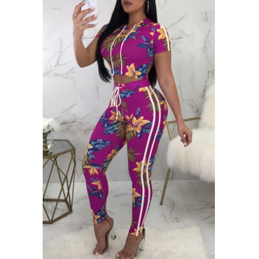 Lovely Euramerican Round Neck Printed Purple Polyester Two-piece Pants Set