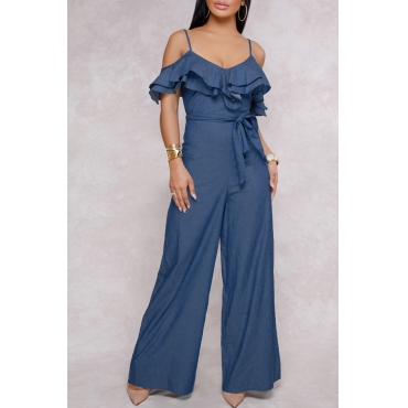 Lovely Sexy Dew Shoulder Ruffle Design Blue Denim One-piece Jumpsuits(With Belt)