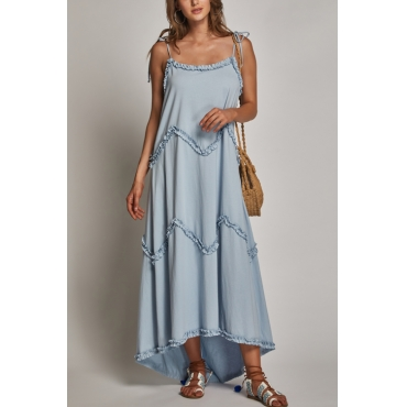 Lovely Casual Square Neck Layered Ruffle Blue Cotton Blend Ankle Length Dress