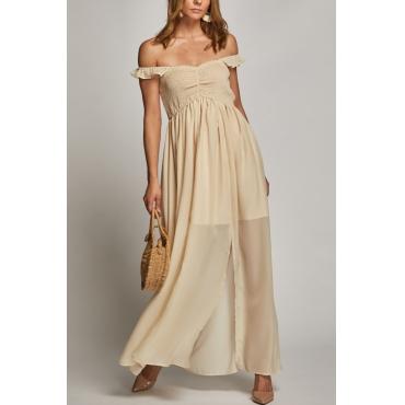 Lovely Bohemian Bateau Neck Fold Design Beige Cotton Blend Ankle Length Dress