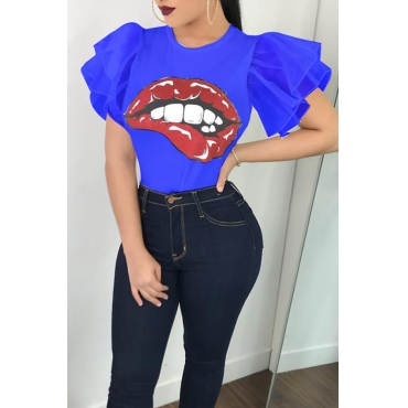 Lovely Fashion Round Neck Ruffle Sleeves Cartoon Printed Blue Polyester T-shirt