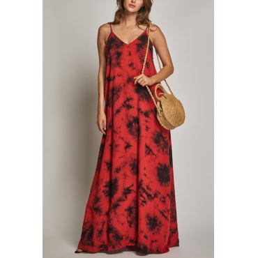 Lovely Sexy V Neck Printed Red Cotton Floor Length Dress