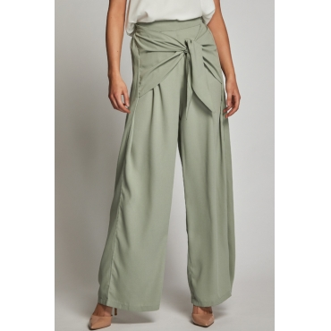 Lovely Chic High Elastic Waist Bandage Green Rayon Pants