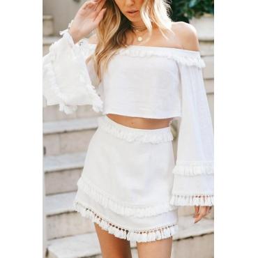 Lovely Fashion Bateau Neck Tassels Hem White Cotton Blends Two-piece Skirt Set