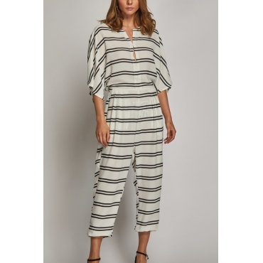 Lovely Retro Round Neck Striped Patchwork White Rayon One-piece Jumpsuits