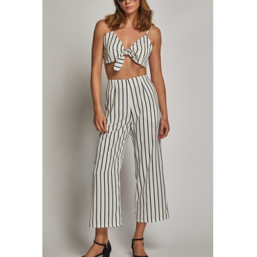 Lovely Euramerican V Neck Striped Patchwork White Rayon Two-piece Pants Set