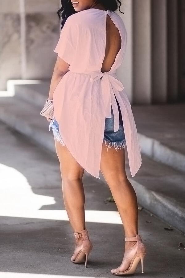 Camisas De Algodón Rosadas Del Cordón Irregular Del Diseño Del Cuello Redondo De Moda Precioso