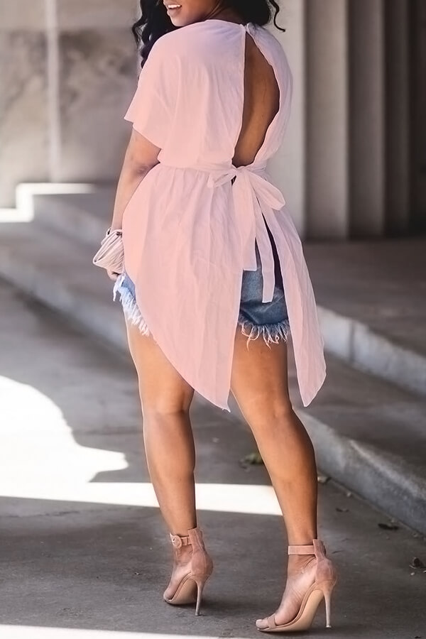 Blouses&Shirts Lovely Trendy Round Neck Irregular Design Drawstring Pink Cotton Shirts фото