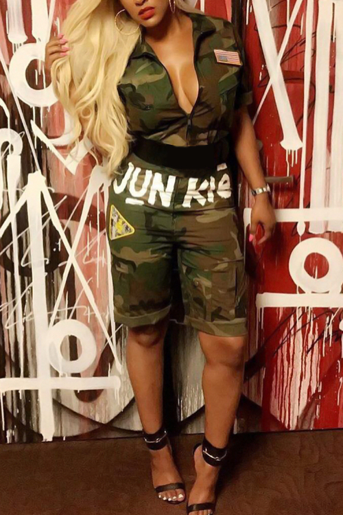 LovelyTrendy Turndown Collar Camouflage Printing Green Blending One-piece Jumpsuits