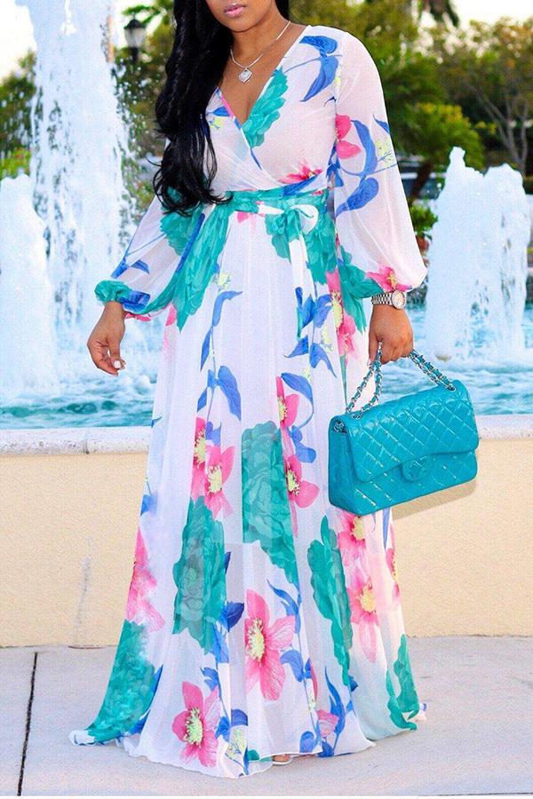 Precioso Bohemio Con Cuello En V Manga Larga Estampado Floral Vestido Largo Hasta El Suelo Con Gasa Blanca