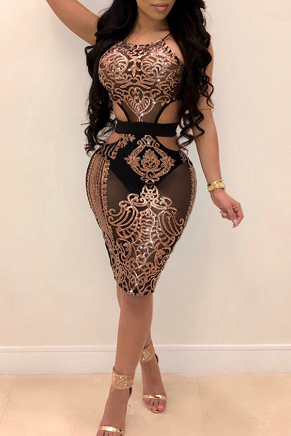 Lovely Sexy Round Neck Hollow-out Sequins Decoration Rose Gold Polyester Knee Length Dress