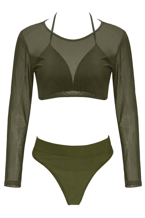Costumi Da Bagno A Tre Pezzi In Poliestere Verde Militare Euramericano