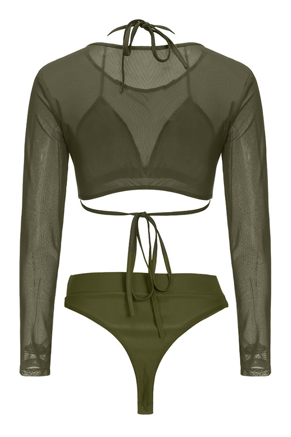 Lovely Euramerican Army Green Polyester Three-piece Swimwear