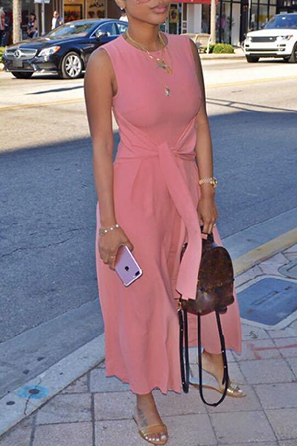 Tute Di Un Pezzo In Poliestere Rosa Adorabili Alla Moda Con Scollo Rotondo A Fascia