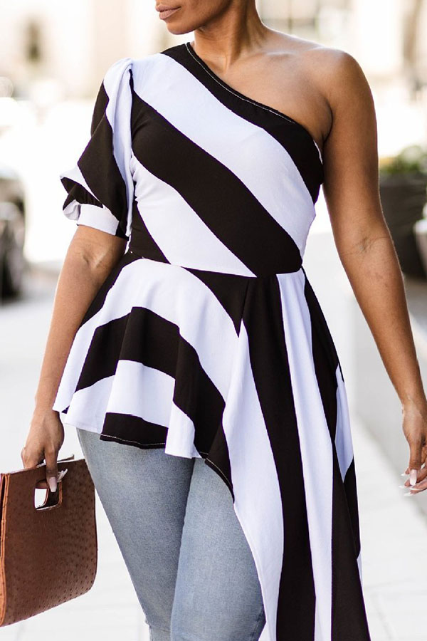 LovelyChic Show A Shoulder Irregular Design Black+White Striped Cotton Blends Shirts