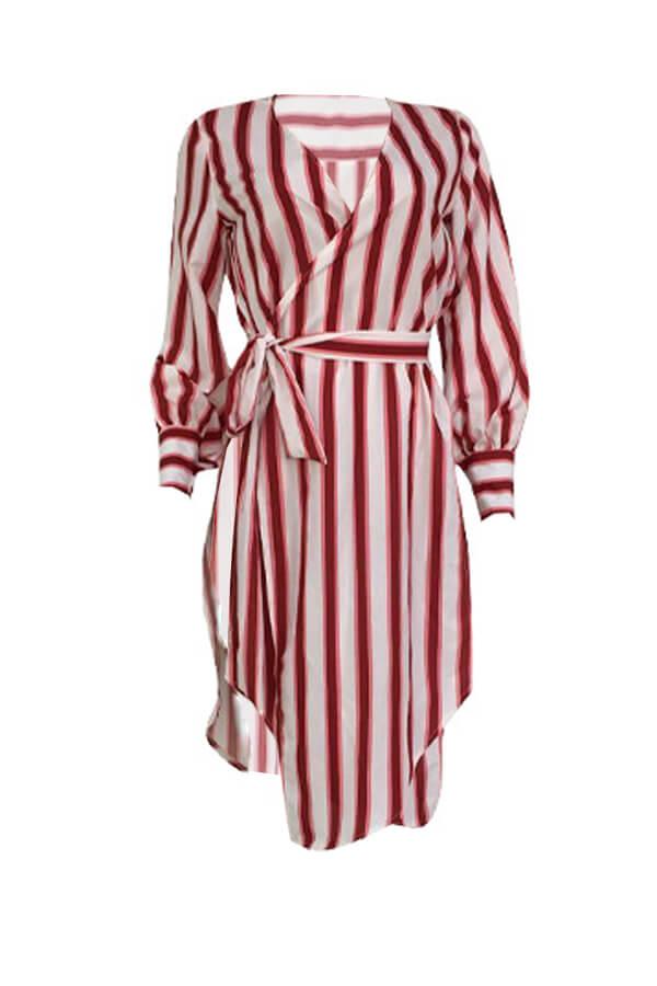 LovelyFashion V Neck Striped Side Slit Red Cotton Mid Calf Dress(With Belt)