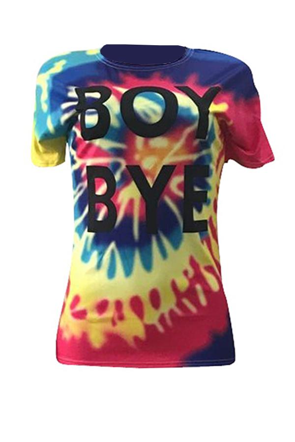 LovelyChic Round Neck Short Sleeves Letter Printed Polyester T-shirt