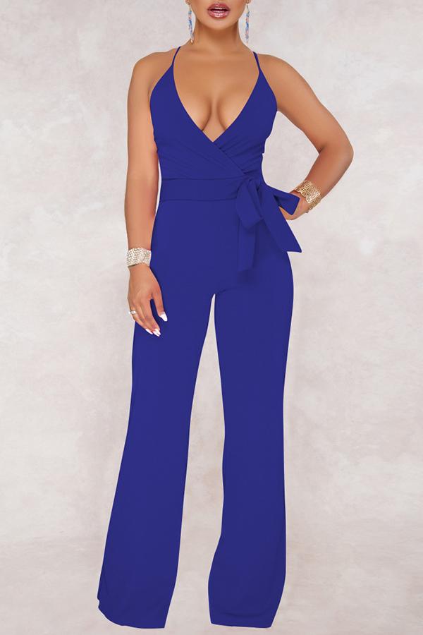 Lovely Elegant V Neck SleeveLess Royalblue Polyester One-piece Jumpsuits(With Belt)