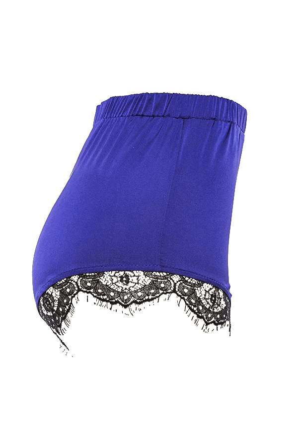 Lovely Trendy High Waist Lace Patchwork Blue Polyester Panties