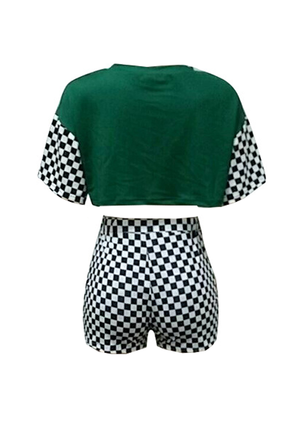 Lovely Leisure Round Neck Short Sleeves Printed Green Qmilch Two-piece Shorts Set