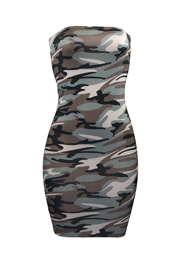 LovelyFashion Bateau Neck Camouflage Printed Grey Polyester Mini Dress