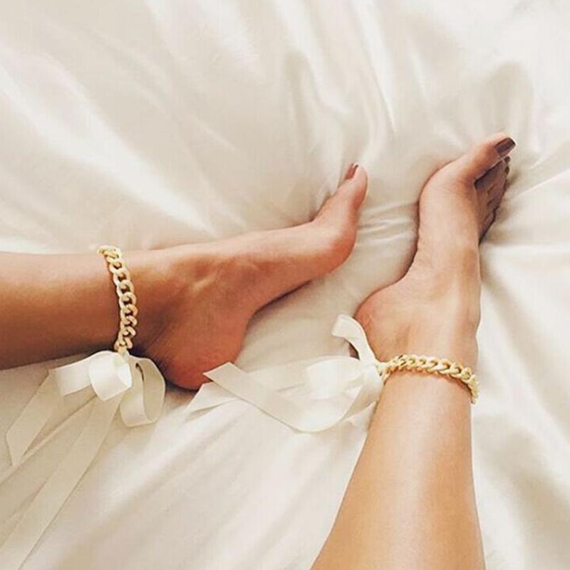 Lovely Fashion Silk Ribbon White Metal Body Chain