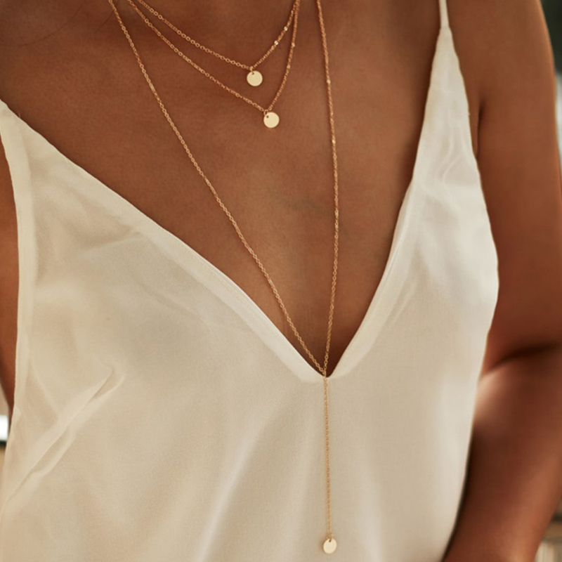 Lovely Fashion Layered Gold Metal Necklace