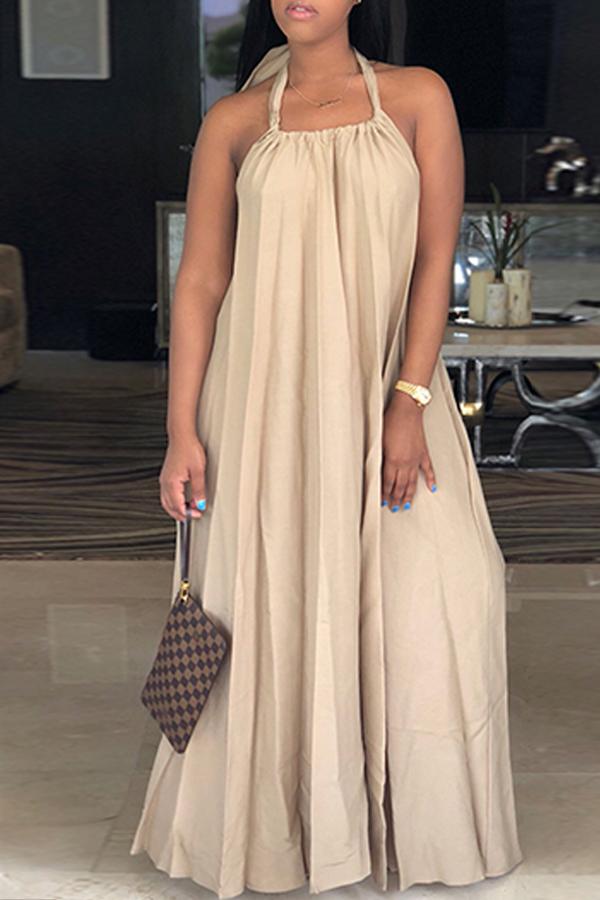 Lovely Leisure Halter Neck Backless Khaki Polyester Floor Length Dress