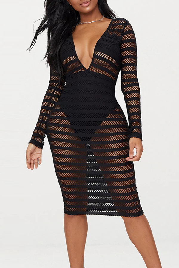 Lovely Sexy V Neck Mesh Hollow-out Black Lace Knee Length Dress