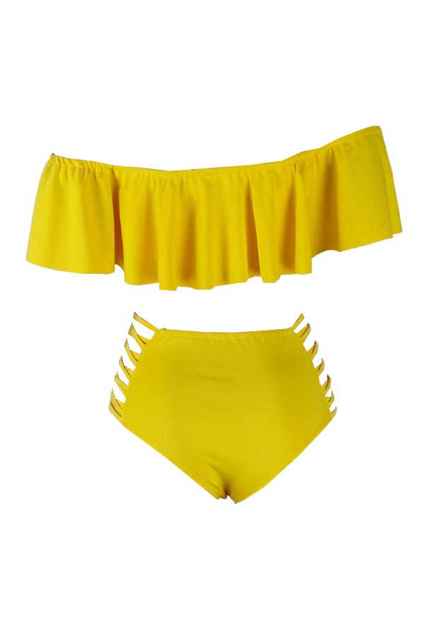Lovely Pretty Bateau Neck Flounce Yellow Two-piece Swimsuit