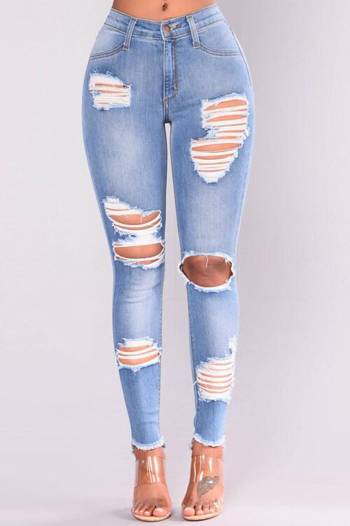 Encantadora Denim Sólido Cremallera Mosca Mediados Pantalones Regulares Jeans