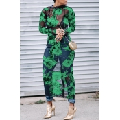 Lovely Sexy Round Neck See-Through Floral Printed Green Polyester Mid Calf Dress(Non Positioning Printing)