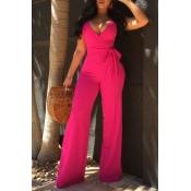Elegante Scollo A V Maniche Senza Maniche In Poliestere Rosso Rosa Tute (con Cintura)