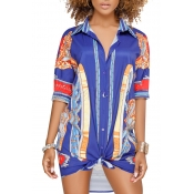 Lovely Chic Turndown Collar Printing Blue Healthy