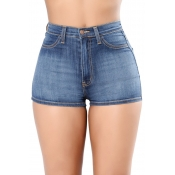 Lovely Trendy High Waist Baby Blue Denim Zipped Sh