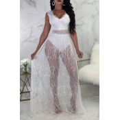 Lovely Sexy V Neck See-Through Backless White Lace