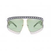 Schöne Mode Perle Trim Großen Rahmen Design Grün PC Sonnenbrille