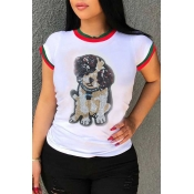 Lovely Leisure Round Neck Sequins Dog White Cotton