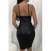 Lovely PU Sexy V Neck Spaghetti Strap Sleeveless S