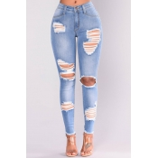 Lovely denim Solid Zipper Fly Mid Regular Pants Je