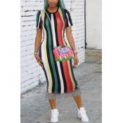 Lovely Trendy Round Neck Fringe Tassels Striped Printed Green Blending Mid Calf Dress