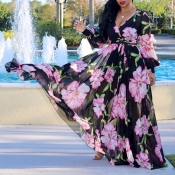 Lovely Bohemian V Neck Long Sleeves Floral Printed Black Chiffon Floor Length Dress