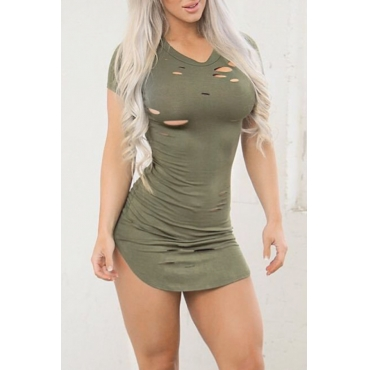 Lovely Sexy Round Neck Broken Holes Army Green Cotton Blend Mini Dress
