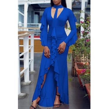 Lovely Fashion Mandarin Collar Falbala Asymmetrical Hem Blue Cotton Blend Floor Length Dress
