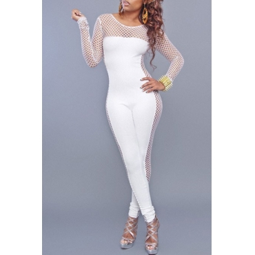 Lovely Sexy Round Neck Mesh Hollow-out White Qmilch One-piece Jumpsuits