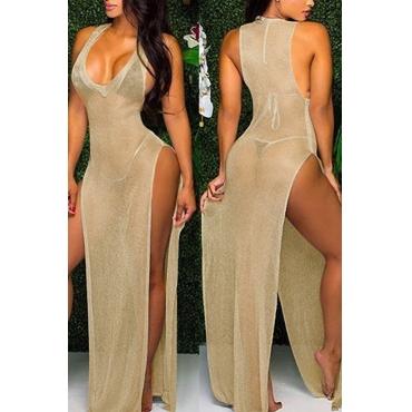 Lovely Sexy Deep V Neck Sleeveless See-Through High Split Gold Ployester Cover-Ups